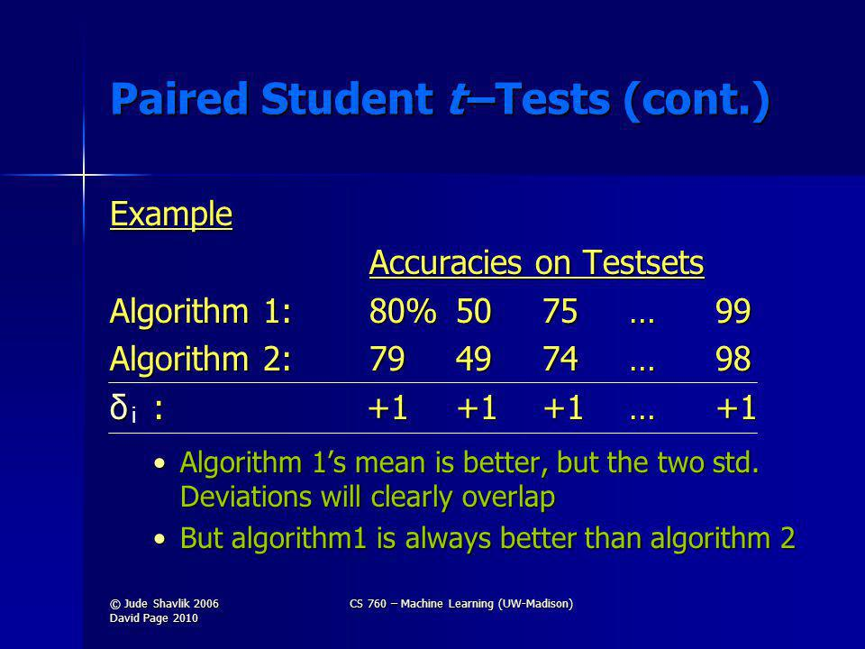 Paired Student t –Tests (cont.) Example Accuracies on Testsets Algorithm 1: 80%5075…99 Algorithm 2:794974…98 δ : +1+1+1…+1 Algorithm 1s mean is better, but the two std.