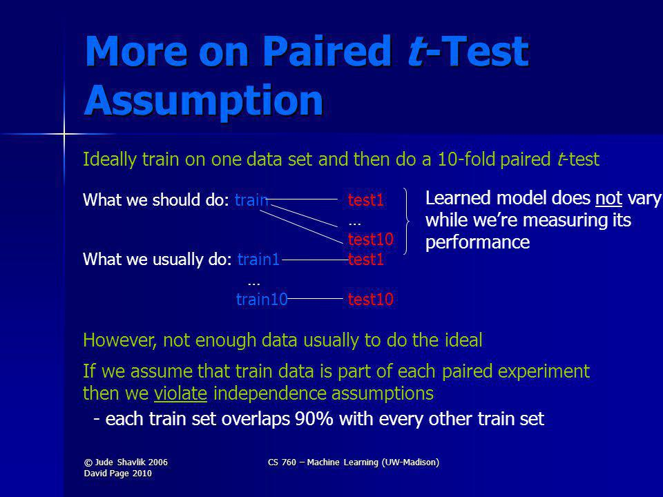 More on Paired t -Test Assumption Ideally train on one data set and then do a 10-fold paired t-test What we should do: traintest1 … test10 What we usually do: train1test1 … train10test10 However, not enough data usually to do the ideal If we assume that train data is part of each paired experiment then we violate independence assumptions - each train set overlaps 90% with every other train set Learned model does not vary while were measuring its performance © Jude Shavlik 2006 David Page 2010 CS 760 – Machine Learning (UW-Madison)