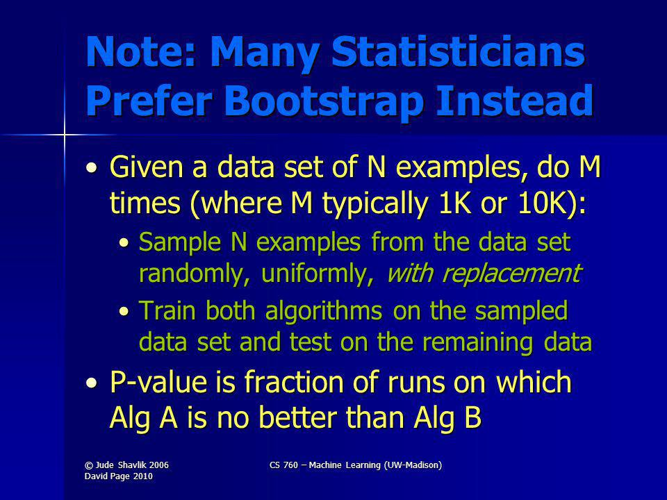 Note: Many Statisticians Prefer Bootstrap Instead Given a data set of N examples, do M times (where M typically 1K or 10K):Given a data set of N examples, do M times (where M typically 1K or 10K): Sample N examples from the data set randomly, uniformly, with replacementSample N examples from the data set randomly, uniformly, with replacement Train both algorithms on the sampled data set and test on the remaining dataTrain both algorithms on the sampled data set and test on the remaining data P-value is fraction of runs on which Alg A is no better than Alg BP-value is fraction of runs on which Alg A is no better than Alg B © Jude Shavlik 2006 David Page 2010 CS 760 – Machine Learning (UW-Madison)