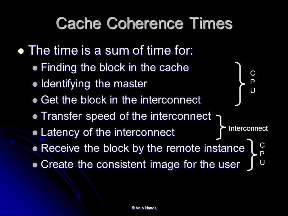 © Arup Nanda Cache Coherence Times The time is a sum of time for: The time is a sum of time for: Finding the block in the cache Finding the block in the cache Identifying the master Identifying the master Get the block in the interconnect Get the block in the interconnect Transfer speed of the interconnect Transfer speed of the interconnect Latency of the interconnect Latency of the interconnect Receive the block by the remote instance Receive the block by the remote instance Create the consistent image for the user Create the consistent image for the user CPUCPU CPUCPU Interconnect