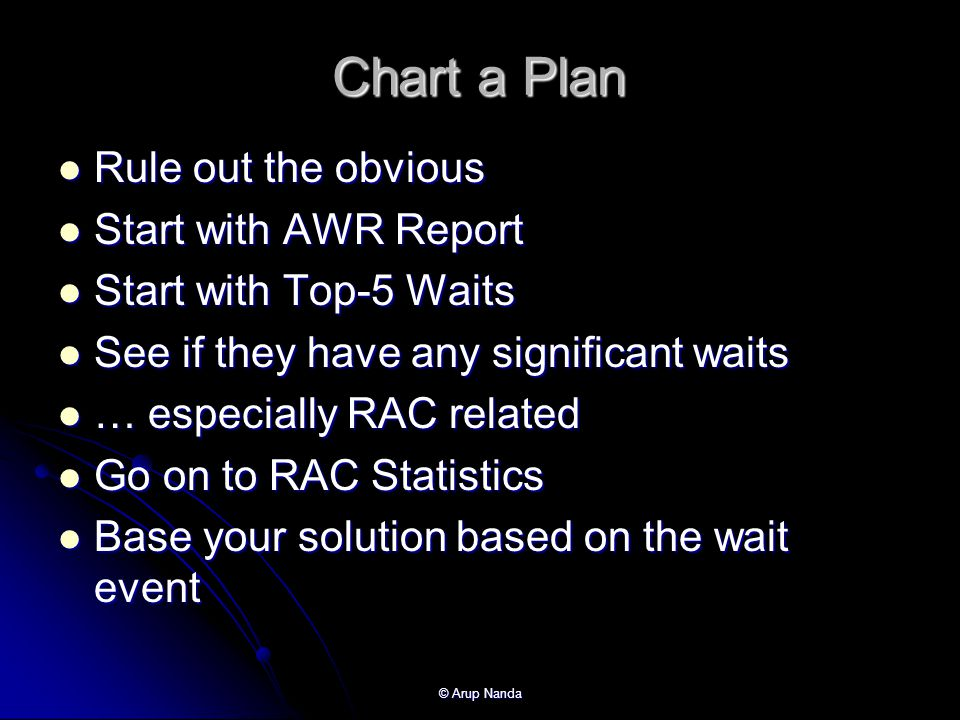 © Arup Nanda Chart a Plan Rule out the obvious Rule out the obvious Start with AWR Report Start with AWR Report Start with Top-5 Waits Start with Top-5 Waits See if they have any significant waits See if they have any significant waits … especially RAC related … especially RAC related Go on to RAC Statistics Go on to RAC Statistics Base your solution based on the wait event Base your solution based on the wait event