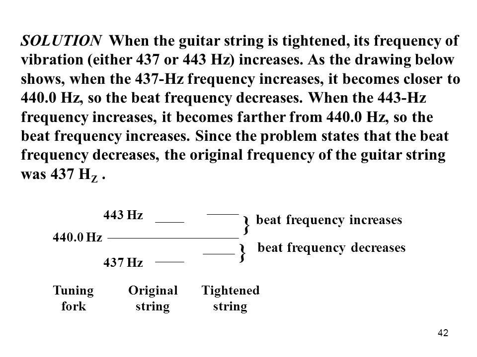 42 SOLUTION When the guitar string is tightened, its frequency of vibration (either 437 or 443 Hz) increases.