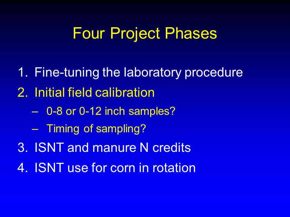 Four Project Phases 1.Fine-tuning the laboratory procedure 2.Initial field calibration –0-8 or 0-12 inch samples.