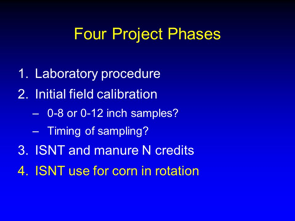 Four Project Phases 1.Laboratory procedure 2.Initial field calibration –0-8 or 0-12 inch samples.