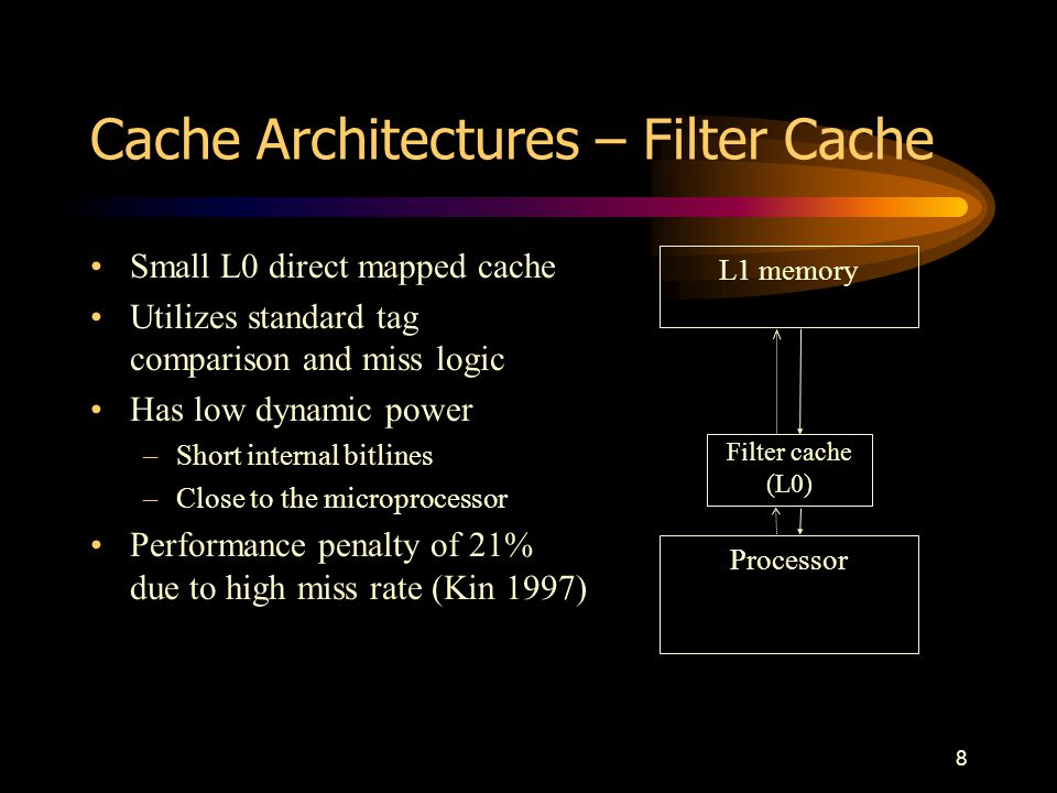 9 Cache Architectures – Dynamically Loaded Loop Cache Small tagless loop cache Alternative location to fetch instructions Dynamically fills the loop cache –Triggered by short backwards branch (sbb) instruction Flexible variation –Allows loops larger than the loop cache to be partially stored...