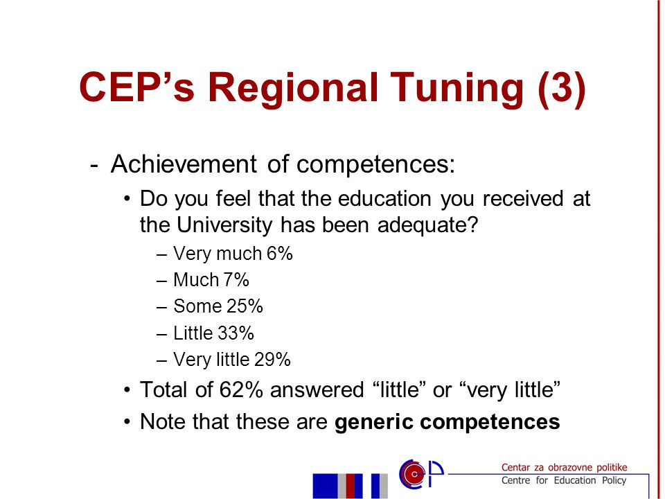 CEPs Regional Tuning (3) -Achievement of competences: Do you feel that the education you received at the University has been adequate.