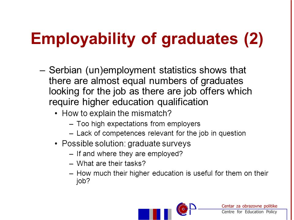 Employability of graduates (2) –Serbian (un)employment statistics shows that there are almost equal numbers of graduates looking for the job as there are job offers which require higher education qualification How to explain the mismatch.