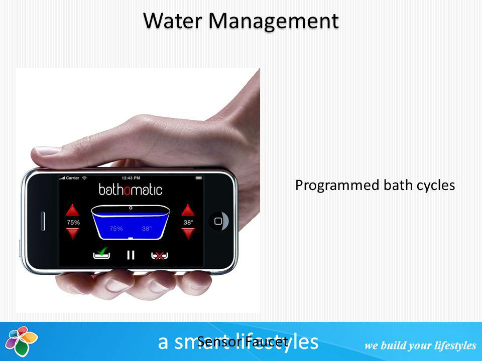 Water Management Sensor Faucet Programmed bath cycles