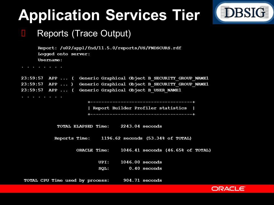Application Services Tier Reports (Trace Output) Report: /u02/appl/fnd/11.5.0/reports/US/FNDSCURS.rdf Logged onto server: Username:.... 23:59:57 APP..