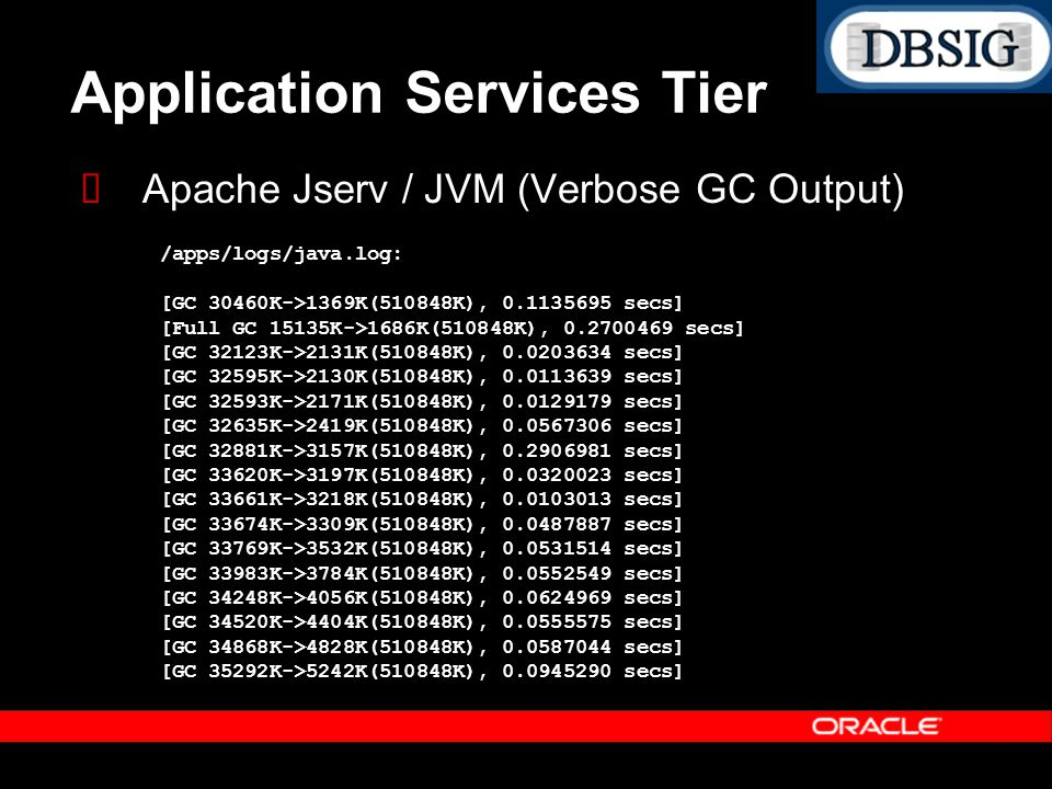Application Services Tier Apache Jserv / JVM (Verbose GC Output) /apps/logs/java.log: [GC 30460K->1369K(510848K), 0.1135695 secs] [Full GC 15135K->168