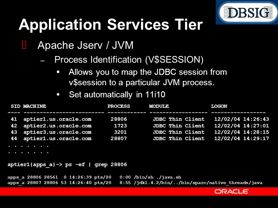 Application Services Tier Apache Jserv / JVM – Process Identification (V$SESSION) Allows you to map the JDBC session from v$session to a particular JV