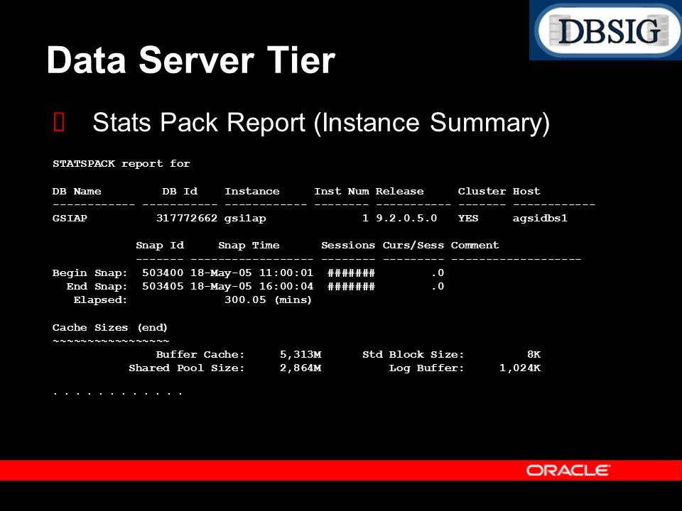 Data Server Tier Stats Pack Report (Instance Summary) STATSPACK report for DB Name DB Id Instance Inst Num Release Cluster Host ------------ ---------