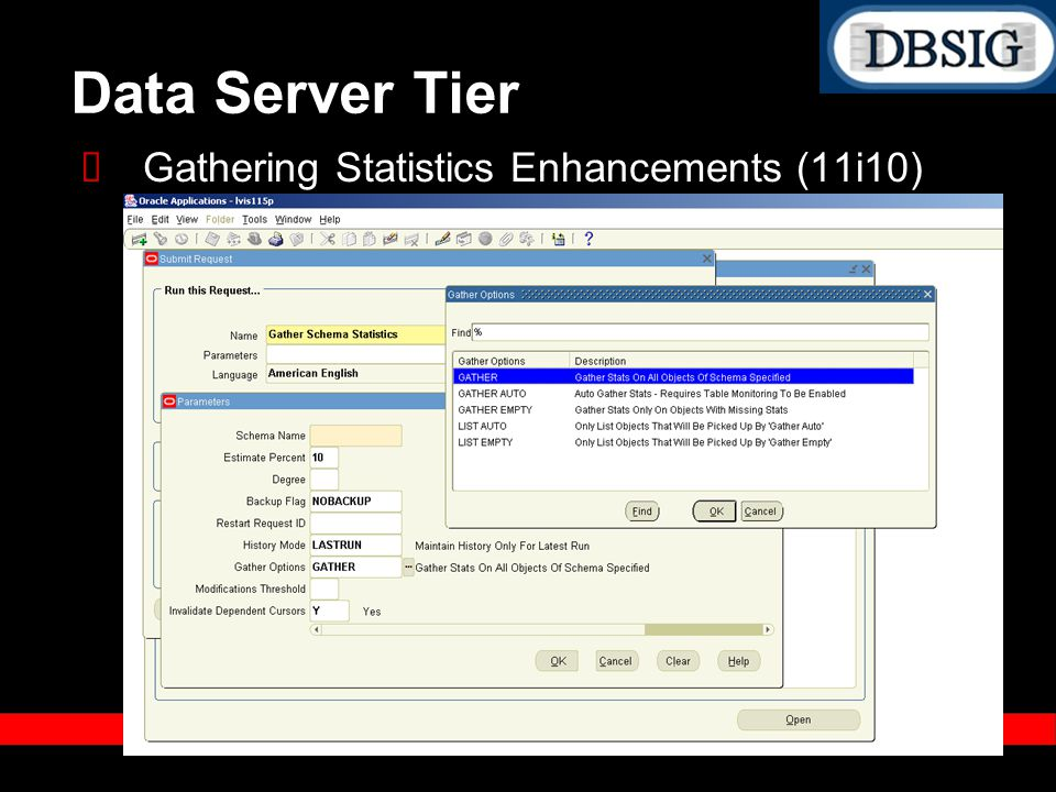 Data Server Tier Gathering Statistics Enhancements (11i10)