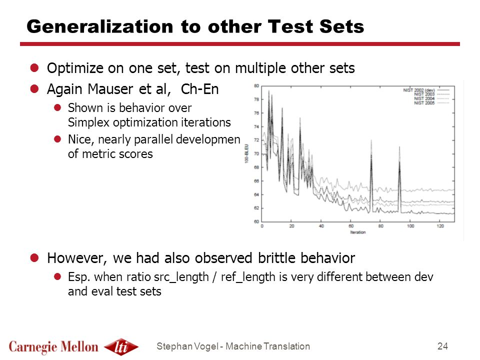 Stephan Vogel - Machine Translation24 Generalization to other Test Sets lOptimize on one set, test on multiple other sets lAgain Mauser et al, Ch-En lShown is behavior over Simplex optimization iterations lNice, nearly parallel development of metric scores lHowever, we had also observed brittle behavior lEsp.