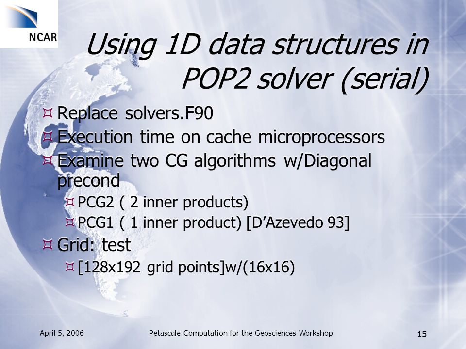 April 5, 2006Petascale Computation for the Geosciences Workshop 15 Using 1D data structures in POP2 solver (serial) Replace solvers.F90 Execution time