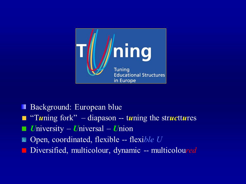 Background: European blue Tuning fork – diapason -- tuning the structtures University – Universal – Union Open, coordinated, flexible -- flexible U Diversified, multicolour, dynamic -- multicoloured