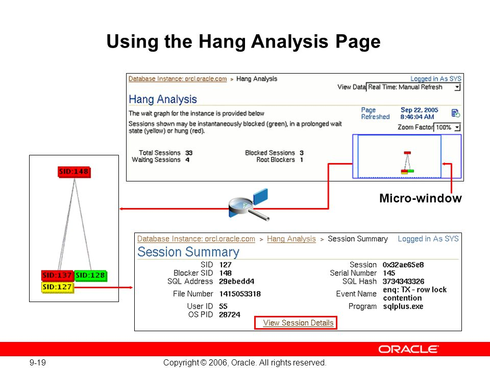 9-19 Copyright © 2006, Oracle. All rights reserved. Using the Hang Analysis Page Micro-window