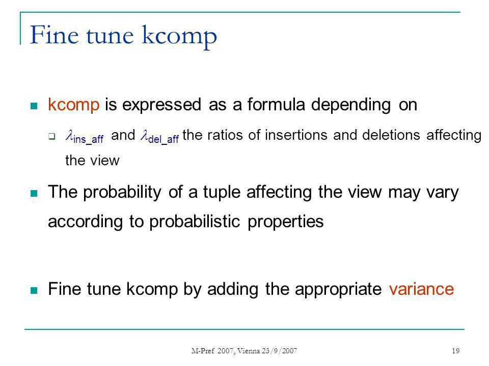 M-Pref 2007, Vienna 23/9/2007 19 Fine tune kcomp kcomp is expressed as a formula depending on ins_aff and del_aff the ratios of insertions and deletio