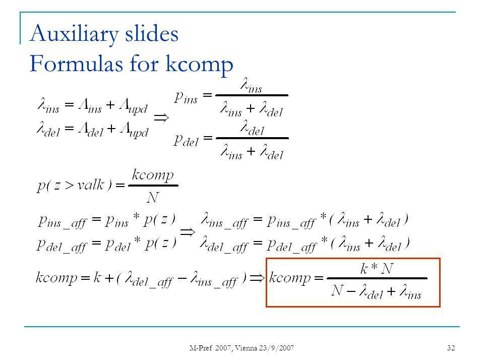 M-Pref 2007, Vienna 23/9/2007 32 Auxiliary slides Formulas for kcomp