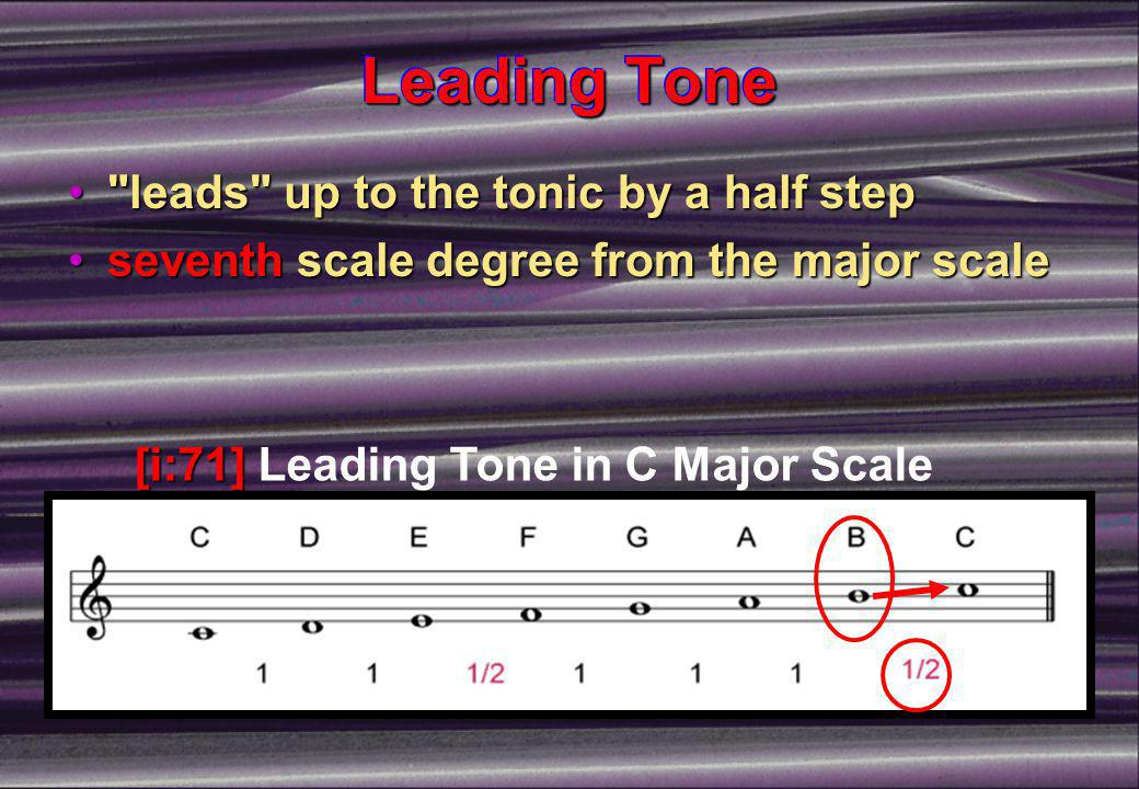Leading Tone leads up to the tonic by a half step leads up to the tonic by a half step seventh scale degree from the major scaleseventh scale degree from the major scale [i:71] [i:71] Leading Tone in C Major Scale