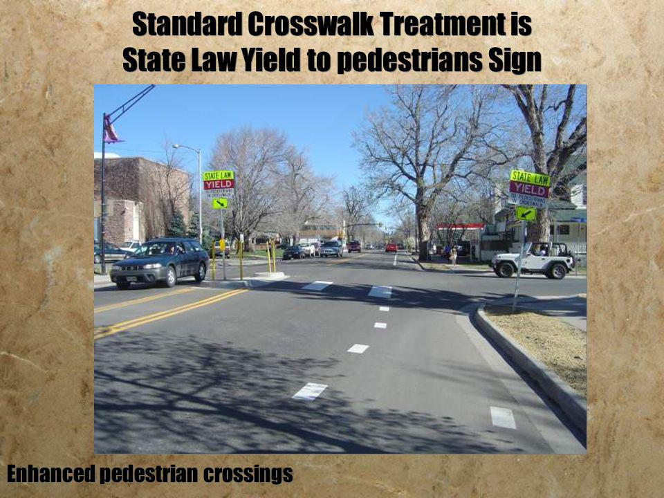 Standard Crosswalk Treatment is State Law Yield to pedestrians Sign Enhanced pedestrian crossings