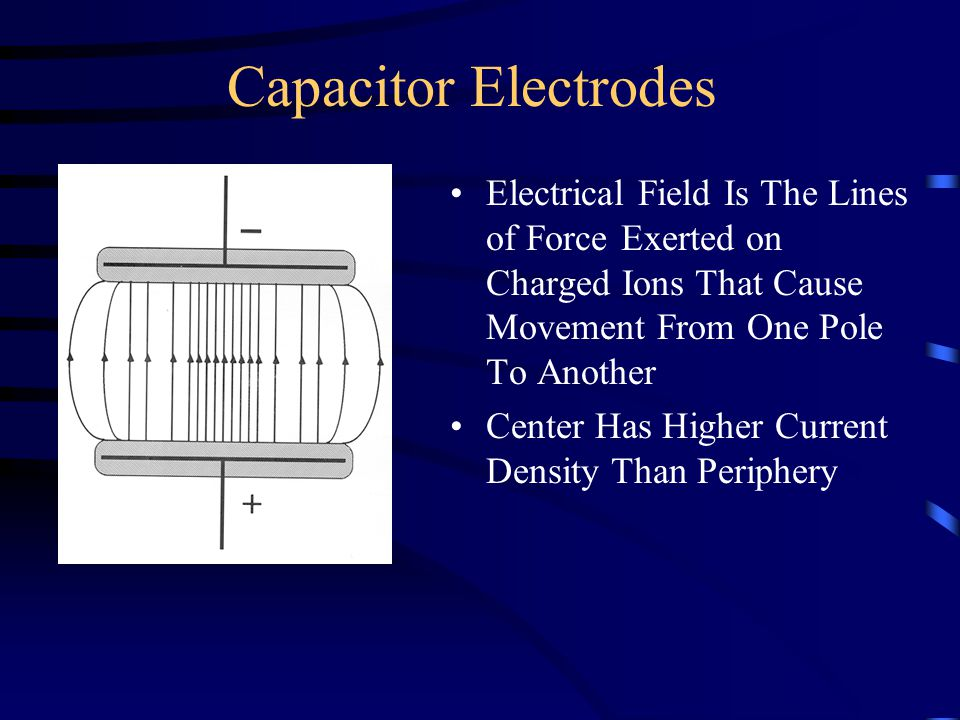 Capacitor Electrodes Electrical Field Is The Lines of Force Exerted on Charged Ions That Cause Movement From One Pole To Another Center Has Higher Cur