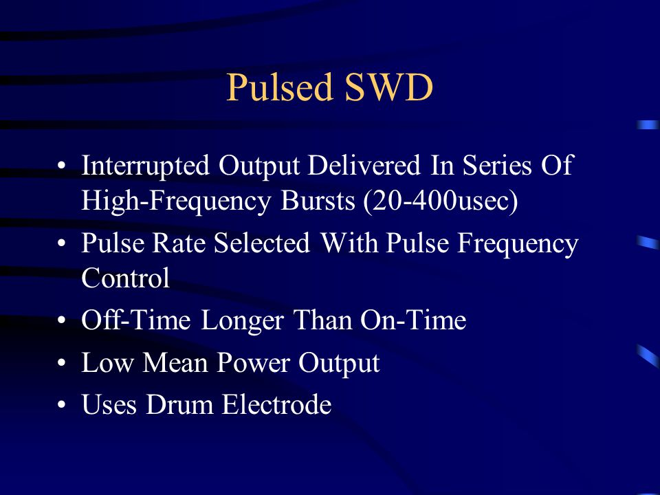 Interrupted Output Delivered In Series Of High-Frequency Bursts (20-400usec) Pulse Rate Selected With Pulse Frequency Control Off-Time Longer Than On-