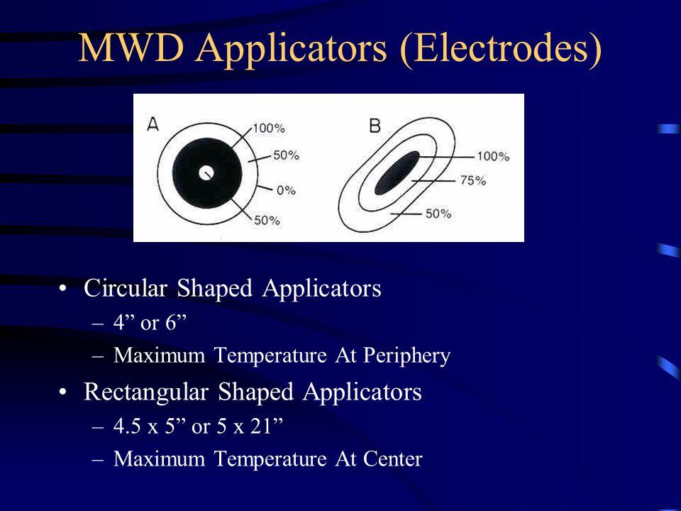 MWD Applicators (Electrodes) Circular Shaped Applicators –4 or 6 –Maximum Temperature At Periphery Rectangular Shaped Applicators –4.5 x 5 or 5 x 21 –