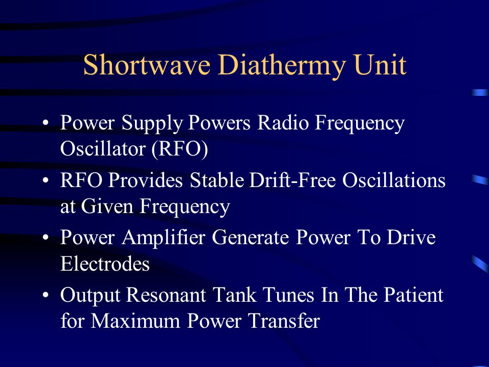 Shortwave Diathermy Unit A=Power Switch B=Timer C=Power Meter(monitors current from power supply not current entering patient-volume control) D=Output Intensity(%max power to patient) E=Tuning Control(tunes output from RFO)