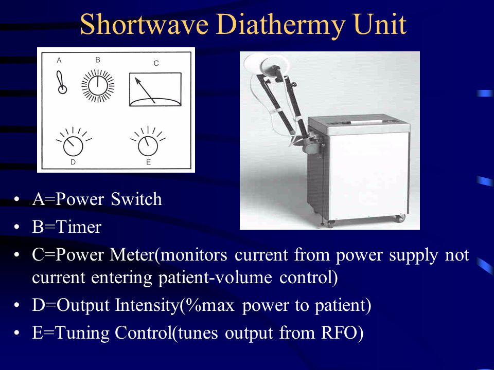 Shortwave Diathermy Unit A=Power Switch B=Timer C=Power Meter(monitors current from power supply not current entering patient-volume control) D=Output