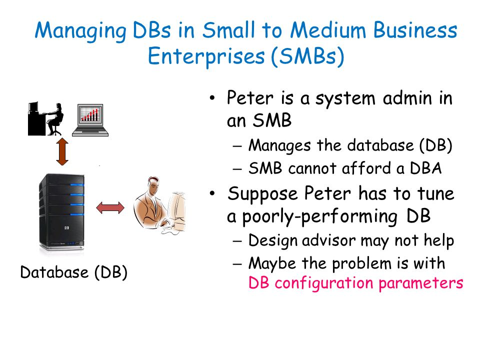 Managing DBs in Small to Medium Business Enterprises (SMBs) Peter is a system admin in an SMB – Manages the database (DB) – SMB cannot afford a DBA Suppose Peter has to tune a poorly-performing DB – Design advisor may not help – Maybe the problem is with DB configuration parameters Database (DB)