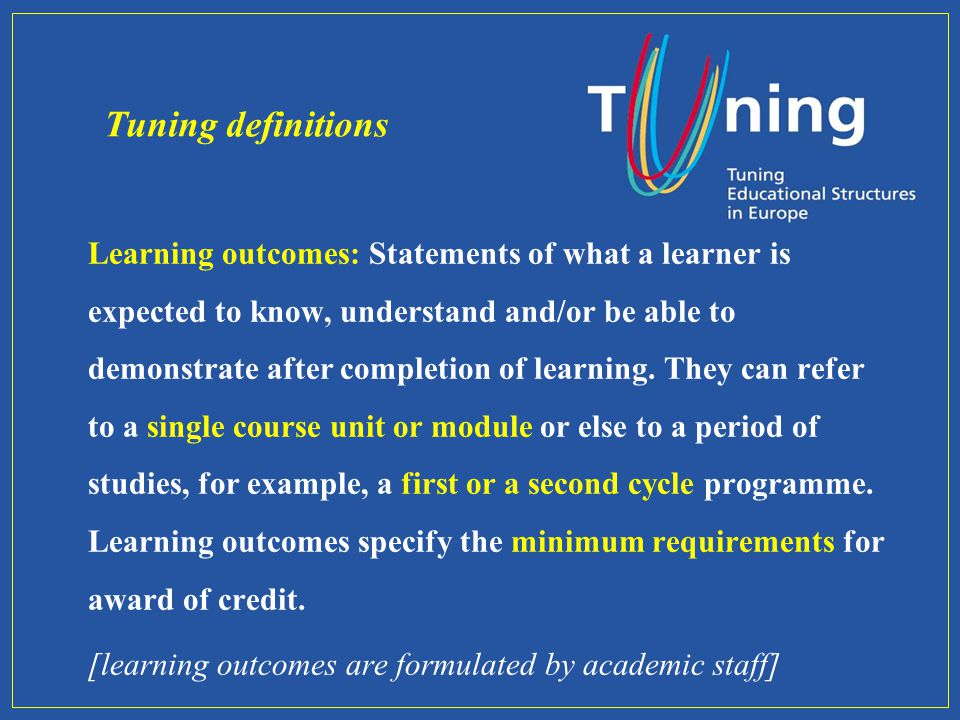Learning outcomes: Statements of what a learner is expected to know, understand and/or be able to demonstrate after completion of learning. They can r