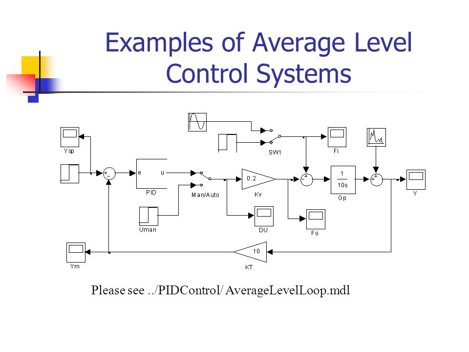 Examples of Average Level Control Systems Please see../PIDControl/ AverageLevelLoop.mdl