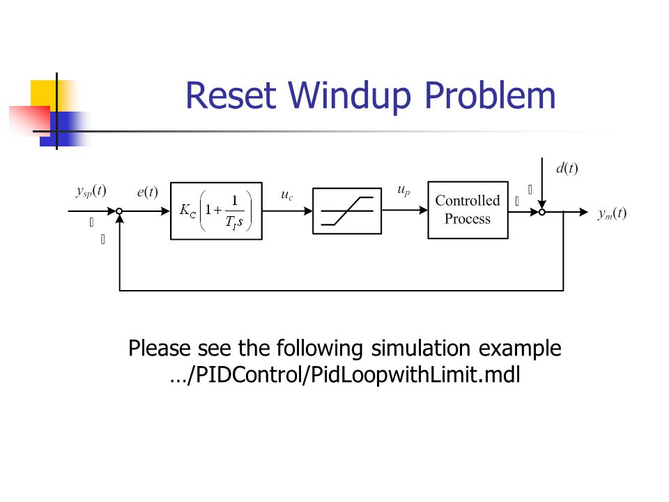 Reset Windup Problem Please see the following simulation example …/PIDControl/PidLoopwithLimit.mdl