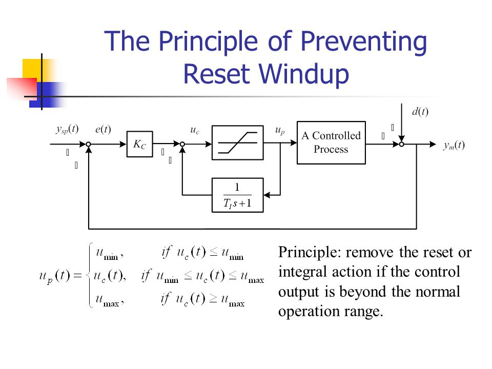 The Principle of Preventing Reset Windup Principle: remove the reset or integral action if the control output is beyond the normal operation range.