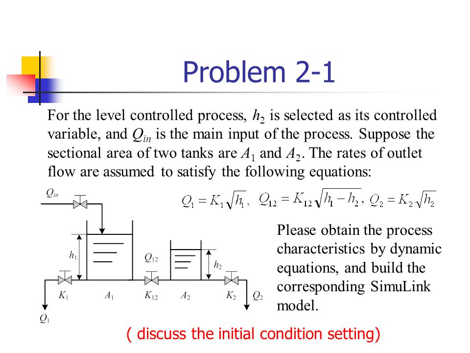 For the level controlled process, h 2 is selected as its controlled variable, and Q in is the main input of the process. Suppose the sectional area of