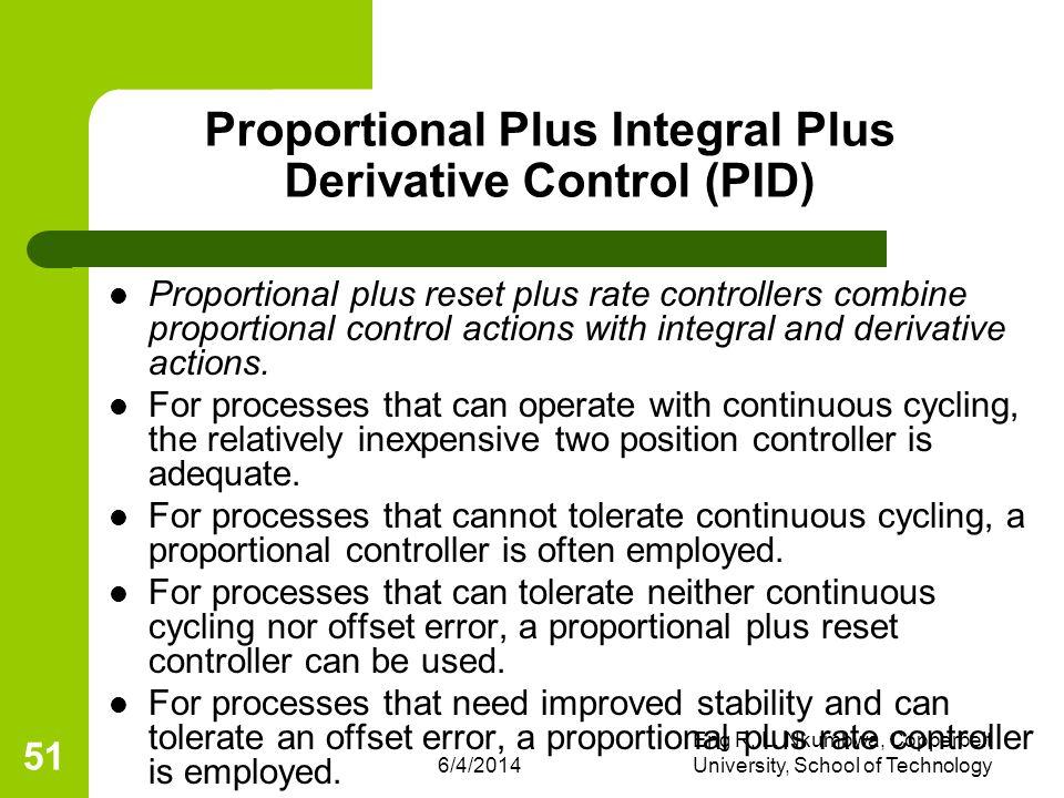 6/4/2014 Eng R. L. Nkumbwa, Copperbelt University, School of Technology 51 Proportional Plus Integral Plus Derivative Control (PID) Proportional plus