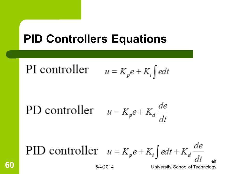 6/4/2014 Eng R. L. Nkumbwa, Copperbelt University, School of Technology 60 PID Controllers Equations