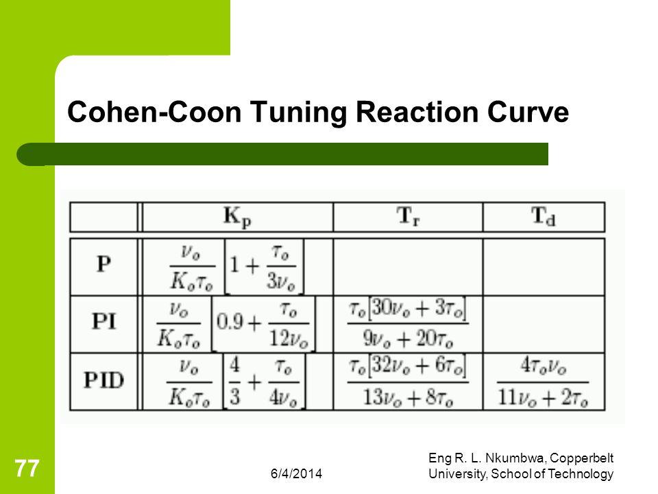 6/4/2014 Eng R. L. Nkumbwa, Copperbelt University, School of Technology 77 Cohen-Coon Tuning Reaction Curve