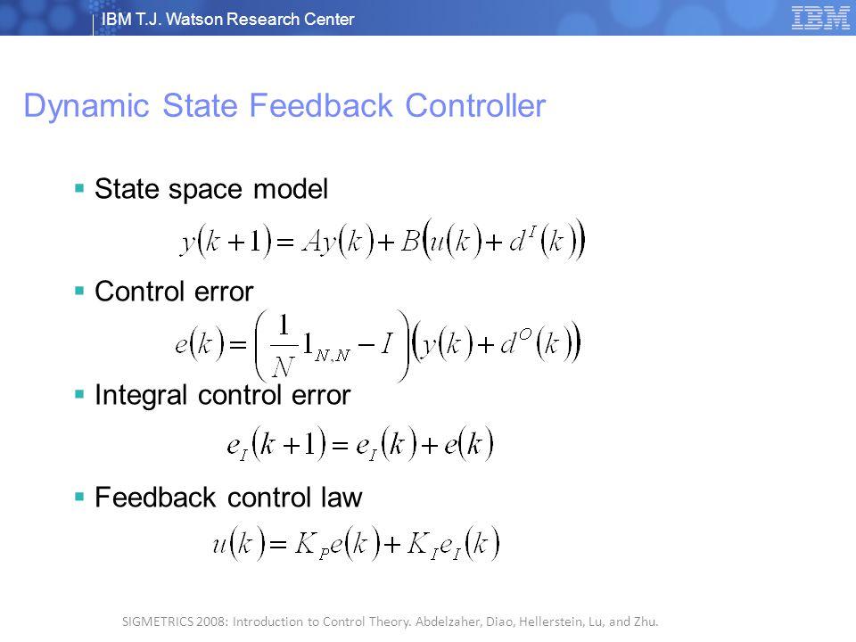 IBM T.J. Watson Research Center © 2008 IBM Corporation 5 SIGMETRICS 2008: Introduction to Control Theory. Abdelzaher, Diao, Hellerstein, Lu, and Zhu.