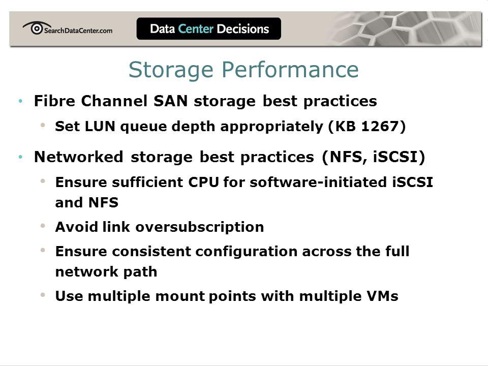 Storage Performance Fibre Channel SAN storage best practices Set LUN queue depth appropriately (KB 1267) Networked storage best practices (NFS, iSCSI)