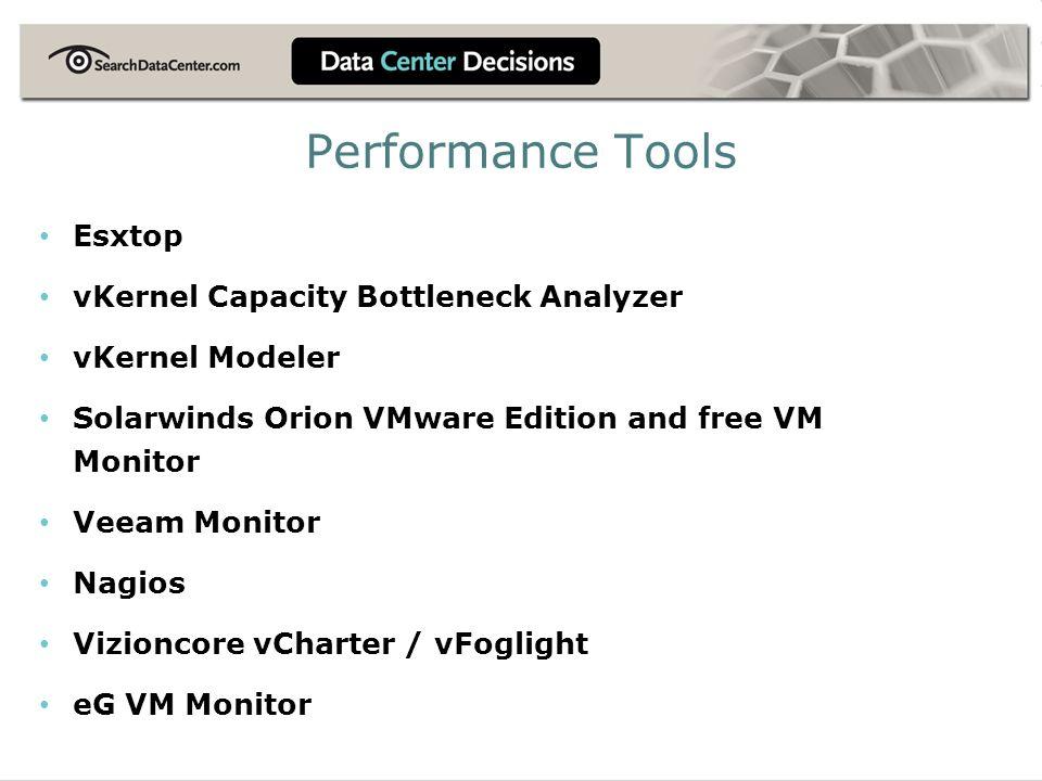 Performance Tools Esxtop vKernel Capacity Bottleneck Analyzer vKernel Modeler Solarwinds Orion VMware Edition and free VM Monitor Veeam Monitor Nagios