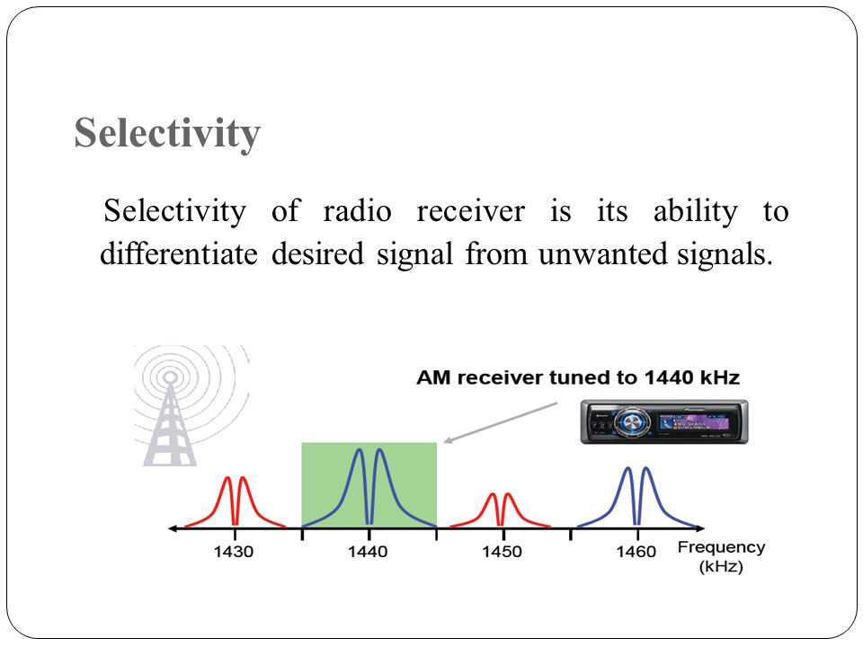 Selectivity Selectivity of radio receiver is its ability to differentiate desired signal from unwanted signals.