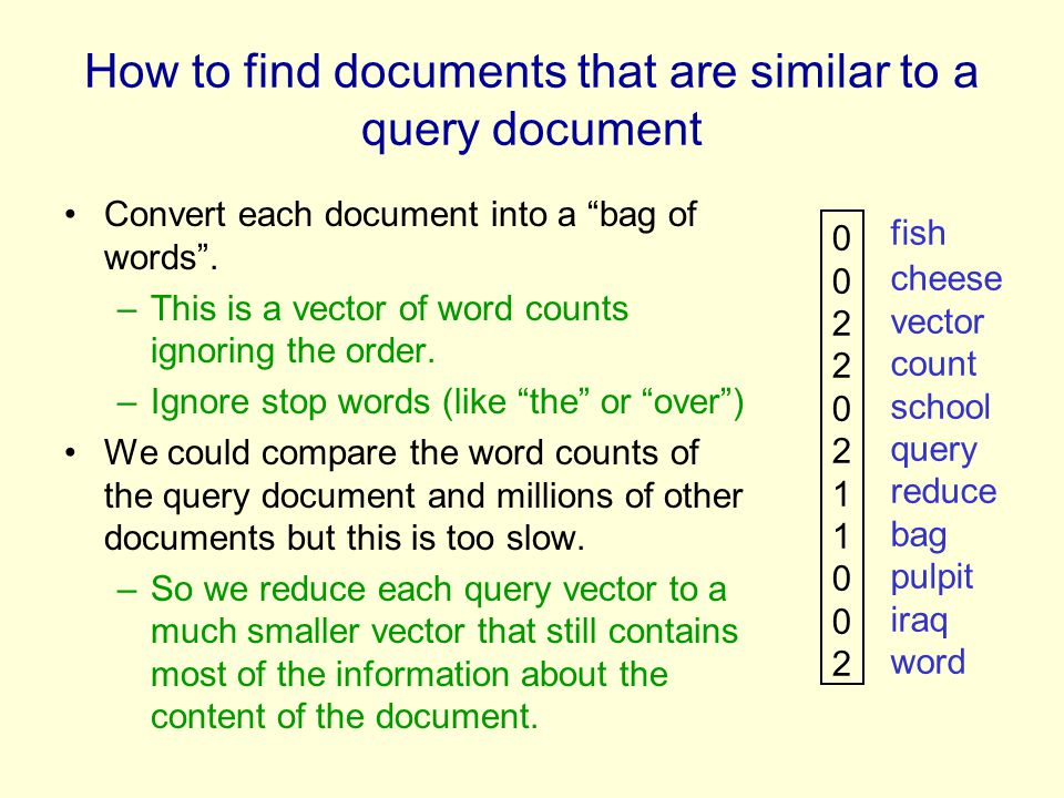 How to find documents that are similar to a query document Convert each document into a bag of words. –This is a vector of word counts ignoring the or