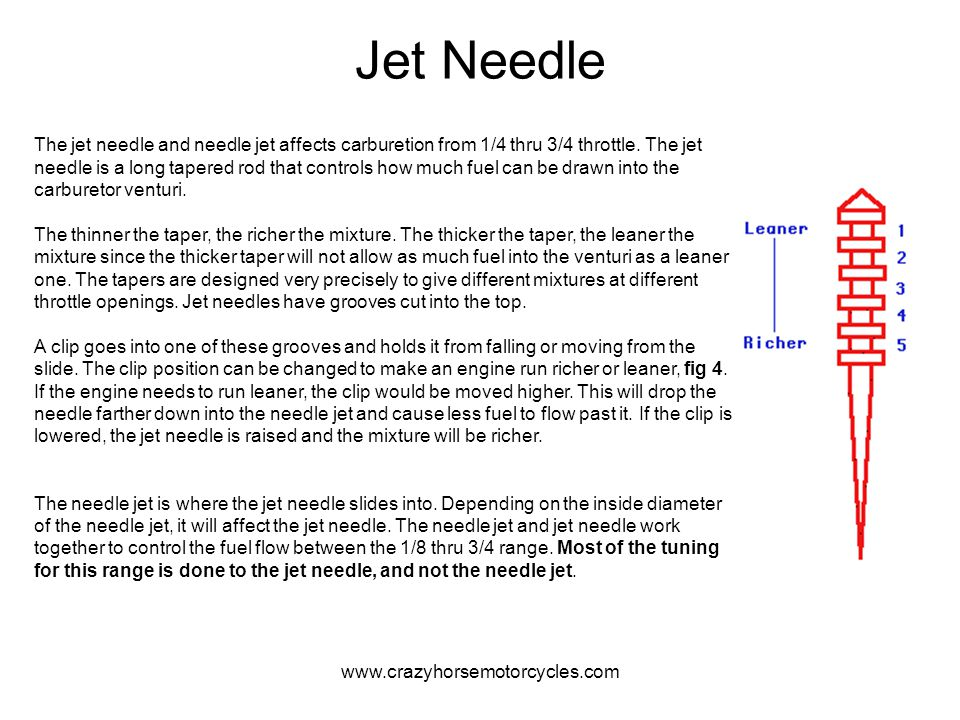 www.crazyhorsemotorcycles.com Jet Needle The jet needle and needle jet affects carburetion from 1/4 thru 3/4 throttle. The jet needle is a long tapere