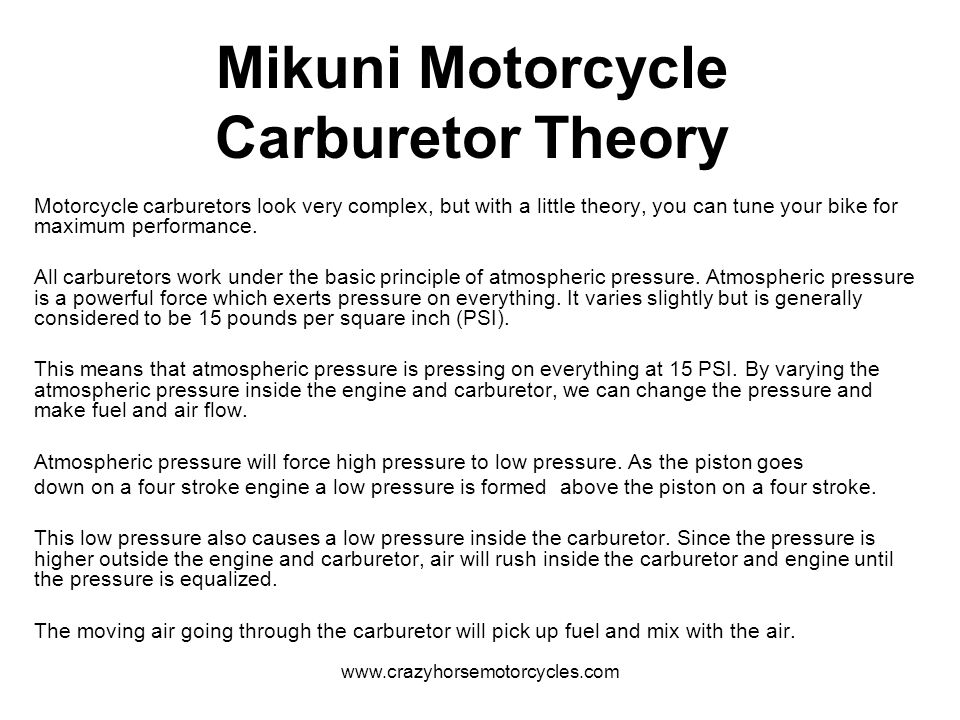 www.crazyhorsemotorcycles.com Spark Knock Lean carburetion can lead to detonation.