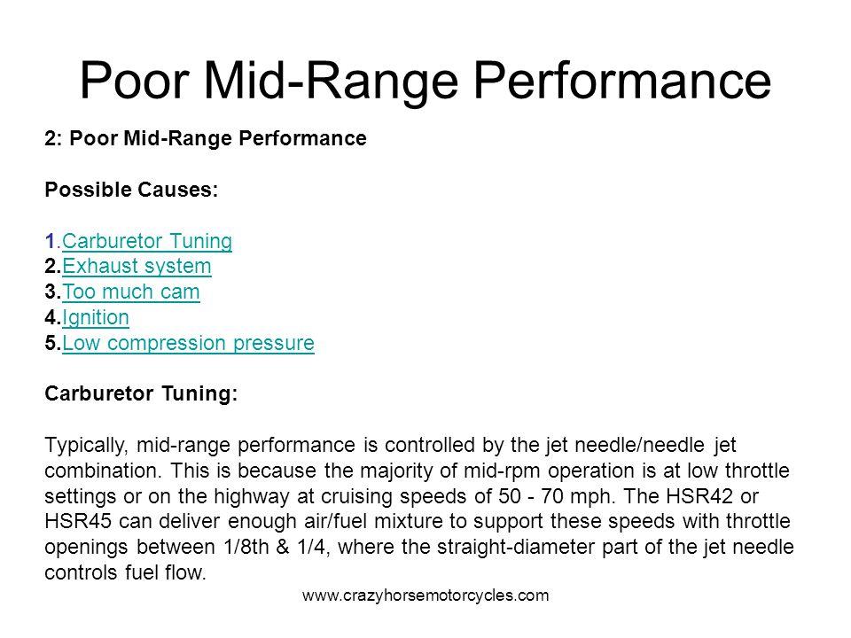 www.crazyhorsemotorcycles.com Poor Mid-Range Performance 2: Poor Mid-Range Performance Possible Causes: 1.Carburetor TuningCarburetor Tuning 2.Exhaust