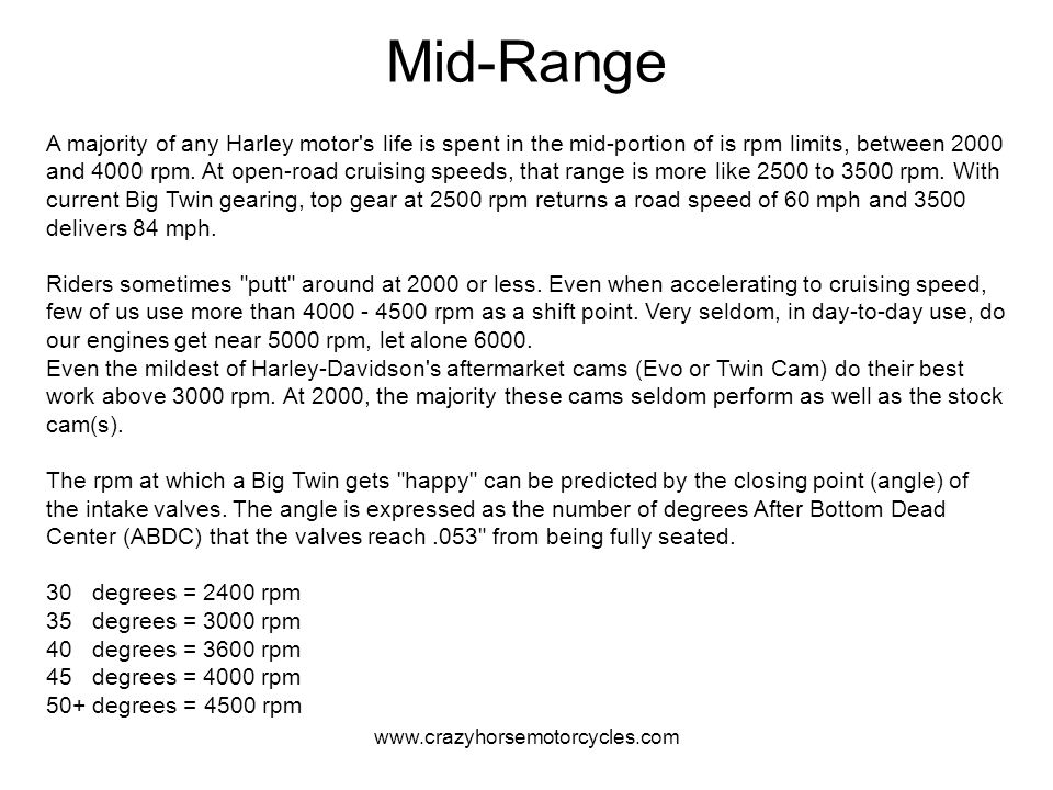 www.crazyhorsemotorcycles.com Mid-Range A majority of any Harley motor's life is spent in the mid-portion of is rpm limits, between 2000 and 4000 rpm.