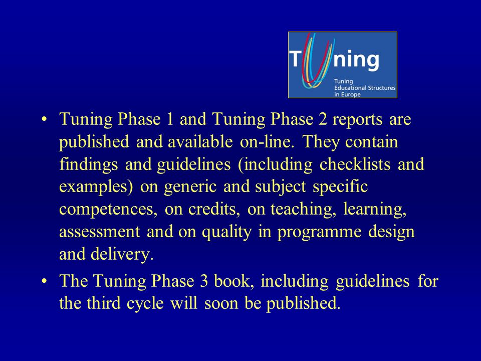 Tuning Phase 1 and Tuning Phase 2 reports are published and available on-line.