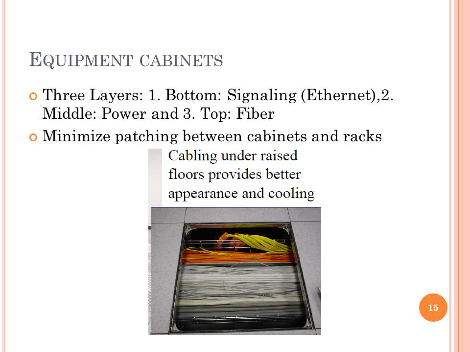 E QUIPMENT CABINETS Three Layers: 1. Bottom: Signaling (Ethernet),2.